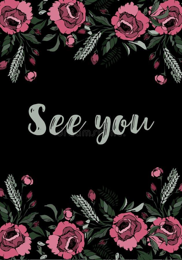 Tarjeta de felicitación con las rosas Véale verle pronto ilustración del vector
