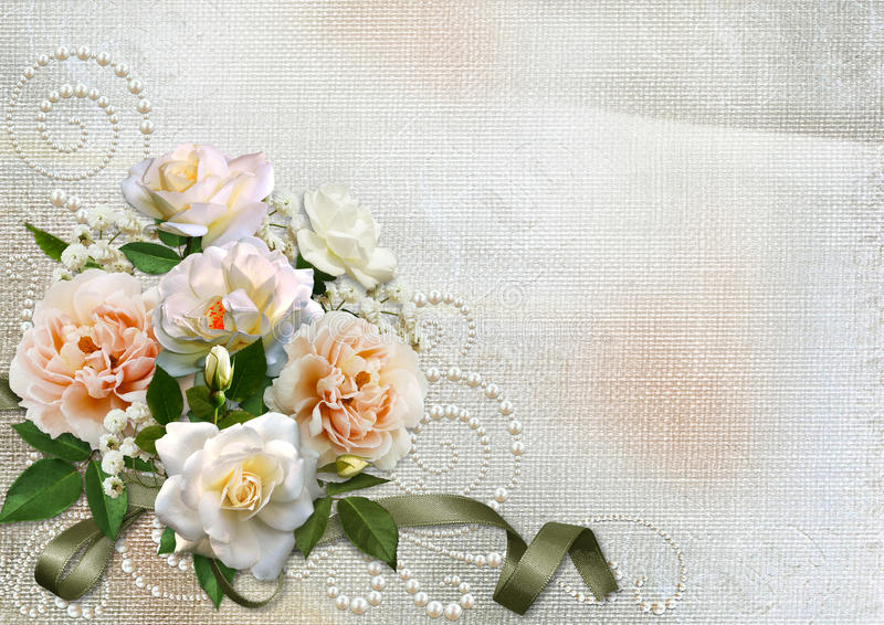 Tarjeta de felicitación con las rosas y los remolinos de la perla libre illustration