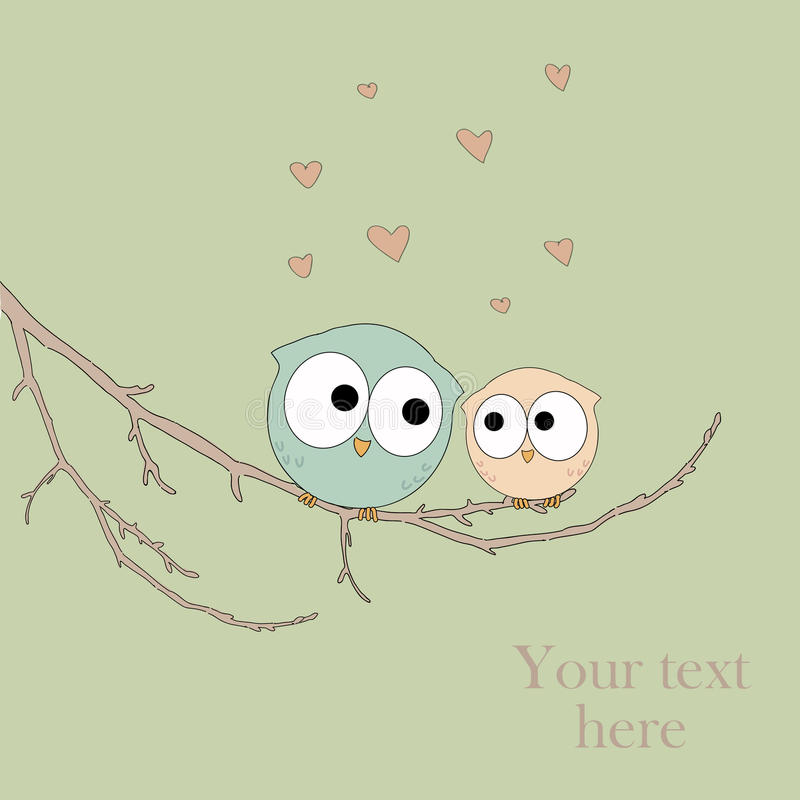 Tarjeta de felicitación con los búhos lindos en amor stock de ilustración