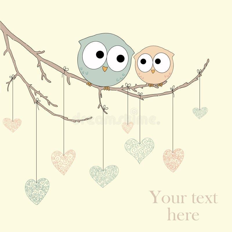Tarjeta de felicitación con los búhos lindos en amor ilustración del vector