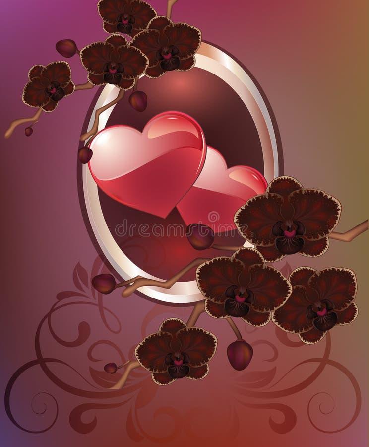 Tarjeta de felicitación con los corazones de las flores El día de madre de la tarjeta, el día de tarjeta del día de San Valentín ilustración del vector