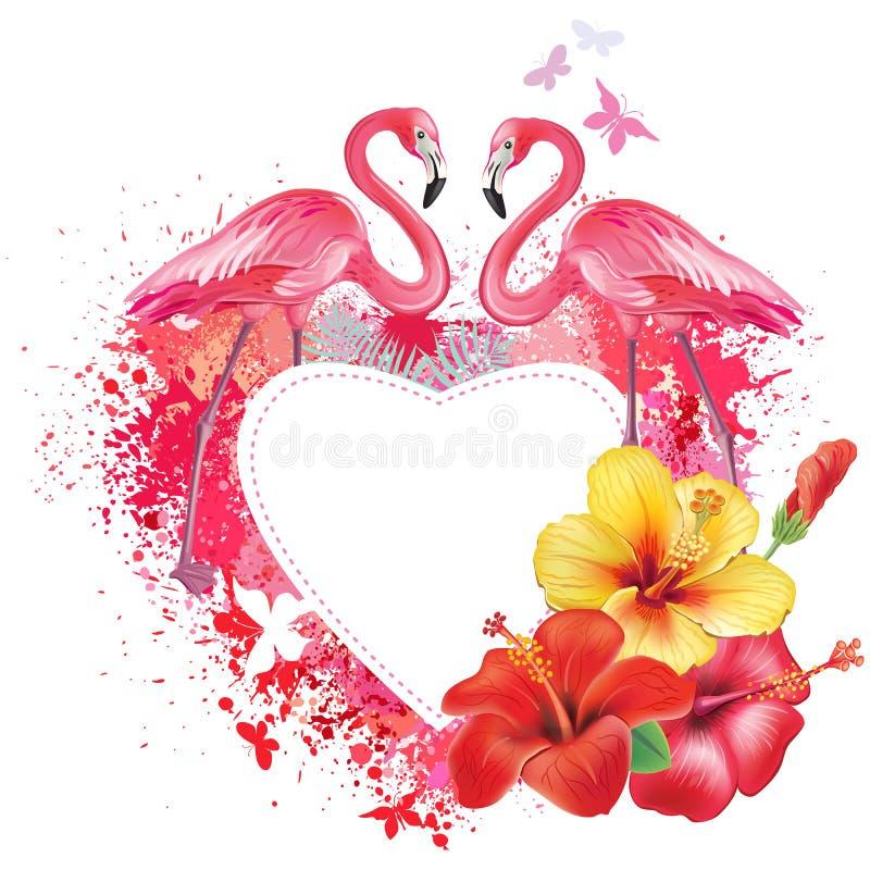 Tarjeta de felicitación con los flamencos y las flores libre illustration