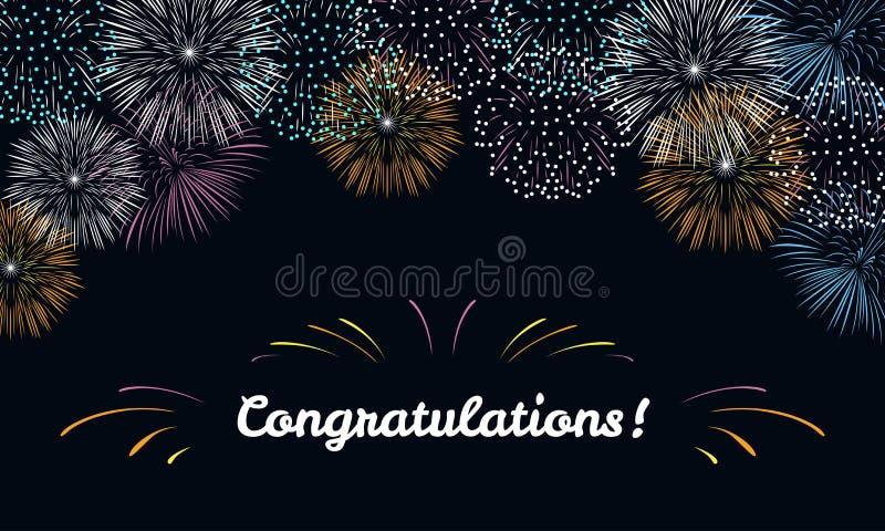 Tarjeta de felicitación con los fuegos artificiales festivos brillantes en un fondo oscuro ilustración del vector