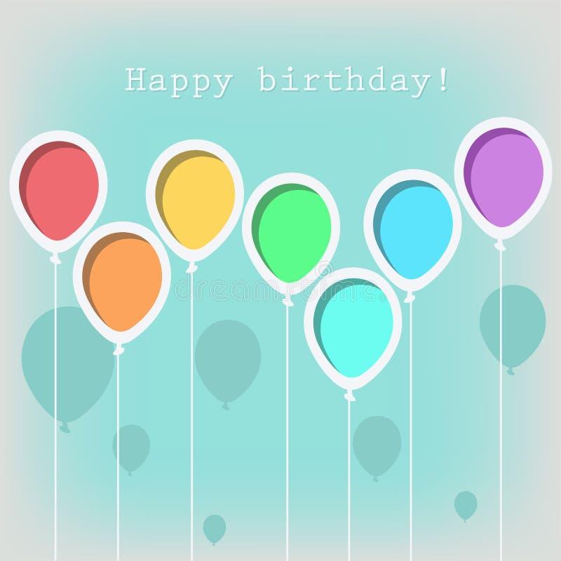 Tarjeta de felicitación con los globos del cumpleaños stock de ilustración