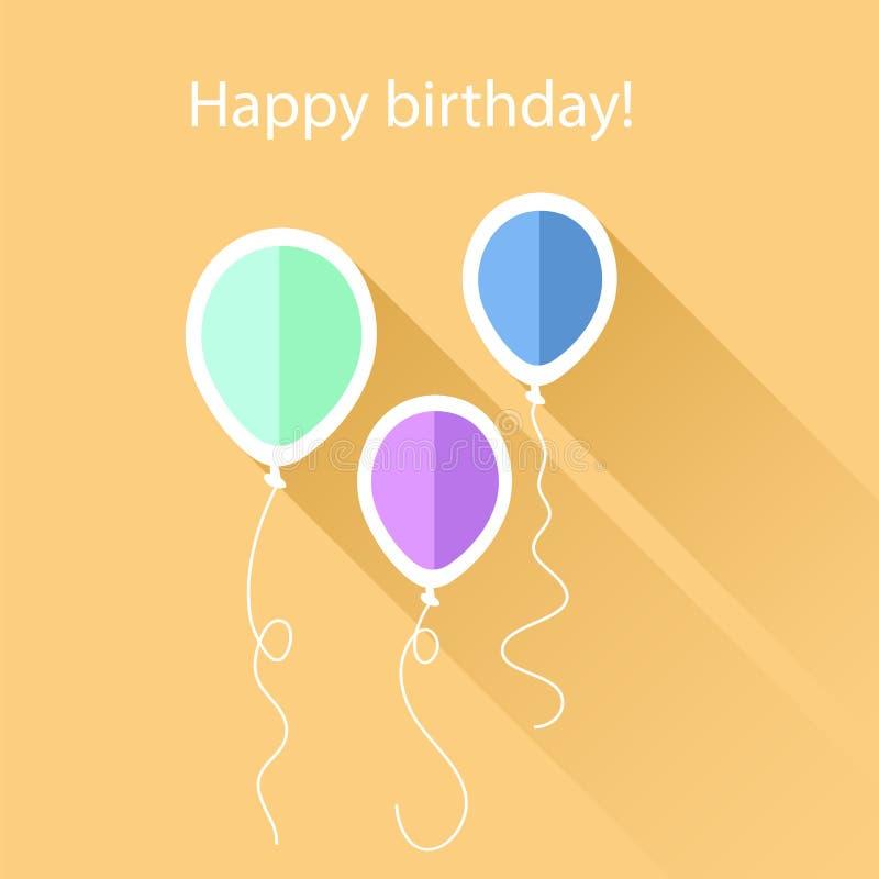 Tarjeta de felicitación con los globos del cumpleaños ilustración del vector