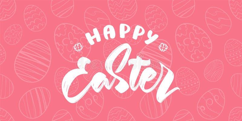 Tarjeta de felicitaci?n con los huevos exhaustos de la mano, tipo manuscrito letras de Pascua feliz stock de ilustración