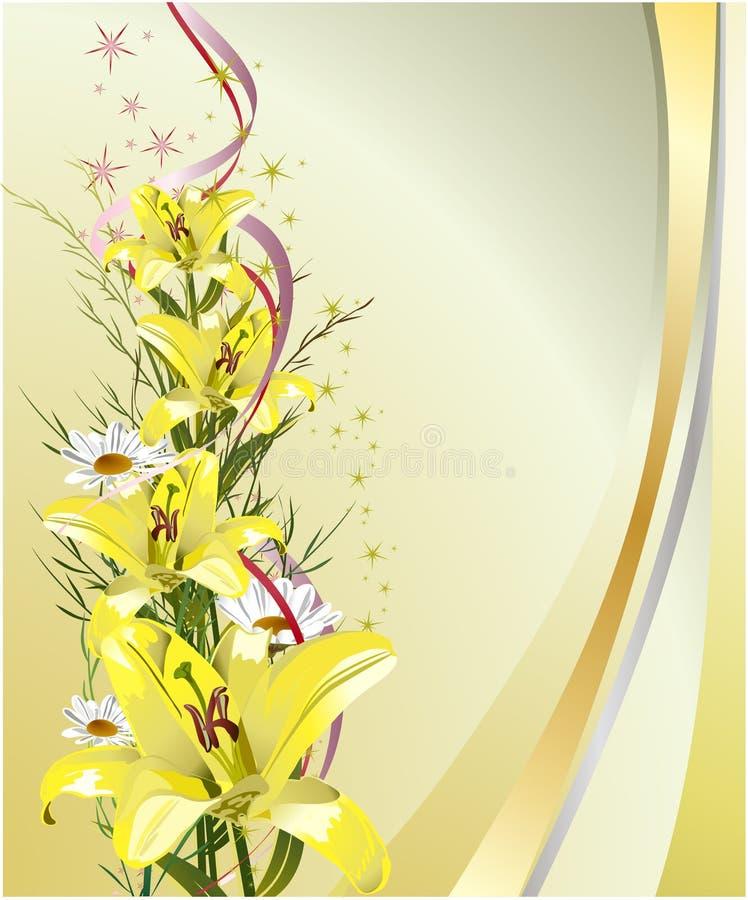 Tarjeta de felicitación con los lirios ilustración del vector