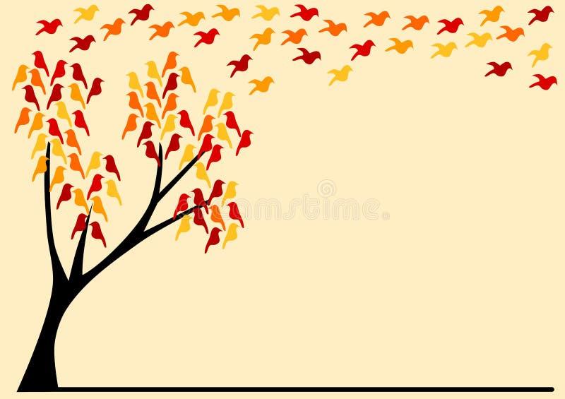 Tarjeta de felicitación con los pájaros en un árbol del otoño ilustración del vector