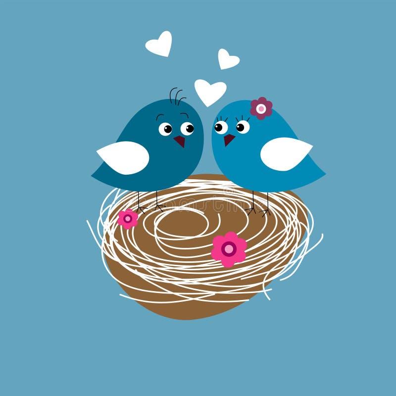 Tarjeta de felicitación con los pájaros lindos en amor ilustración del vector