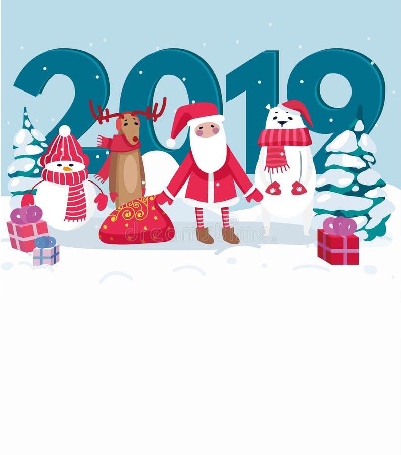 tarjeta 2019 de felicitación con Papá Noel, el oso polar, el muñeco de nieve, los ciervos y Chr ilustración del vector