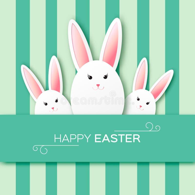 Tarjeta de felicitación con Pascua feliz - con el conejo de Pascua del Libro Blanco ilustración del vector
