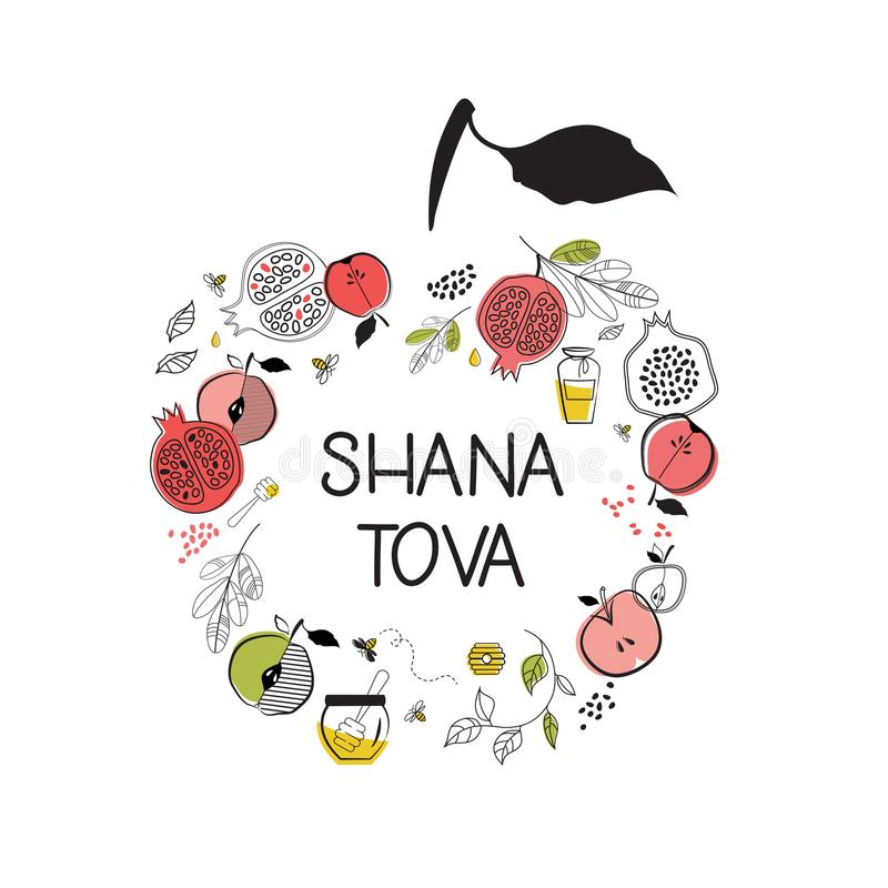 Tarjeta de felicitación con símbolos del día de fiesta judío Rosh Hashana, Año Nuevo bendición de la Feliz Año Nuevo en hebreo, t stock de ilustración