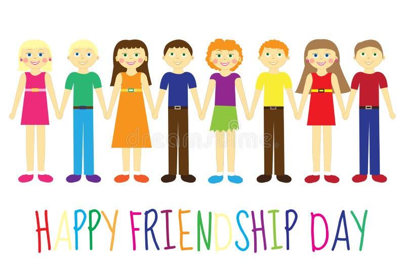 Tarjeta de felicitación con un día feliz de la amistad Niños lindos de la tarjeta de felicitación, historieta que lleva a cabo la libre illustration