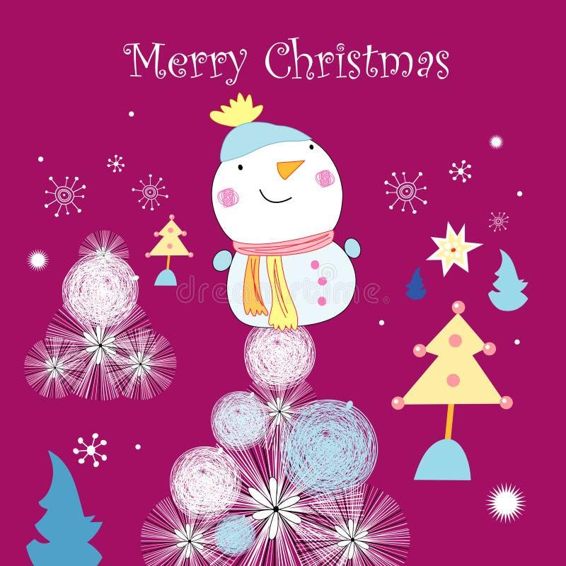 Tarjeta de felicitación con un muñeco de nieve libre illustration