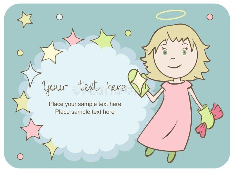 Tarjeta de felicitación con un pequeño ángel fotos de archivo