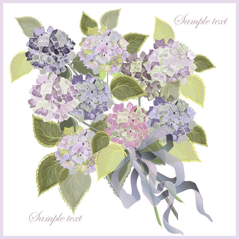 Tarjeta de felicitación con un ramo de hydrangea. libre illustration