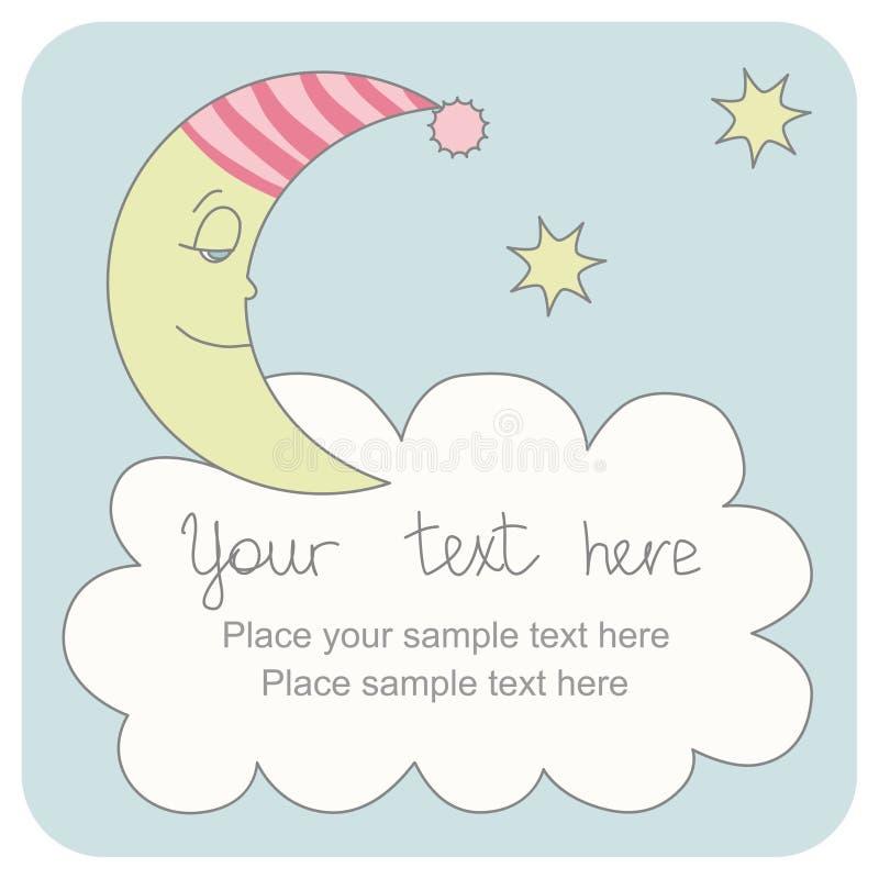 Tarjeta de felicitación con una crescent el dormir foto de archivo