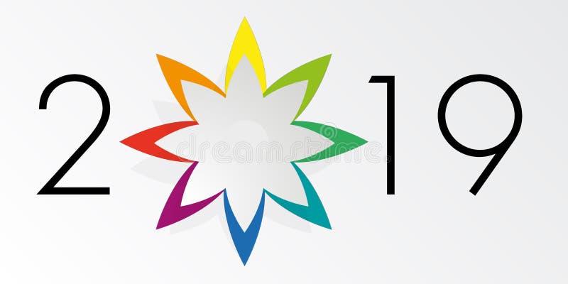 Tarjeta de felicitación 2019, con una estrella acentuada 8 multicolores libre illustration