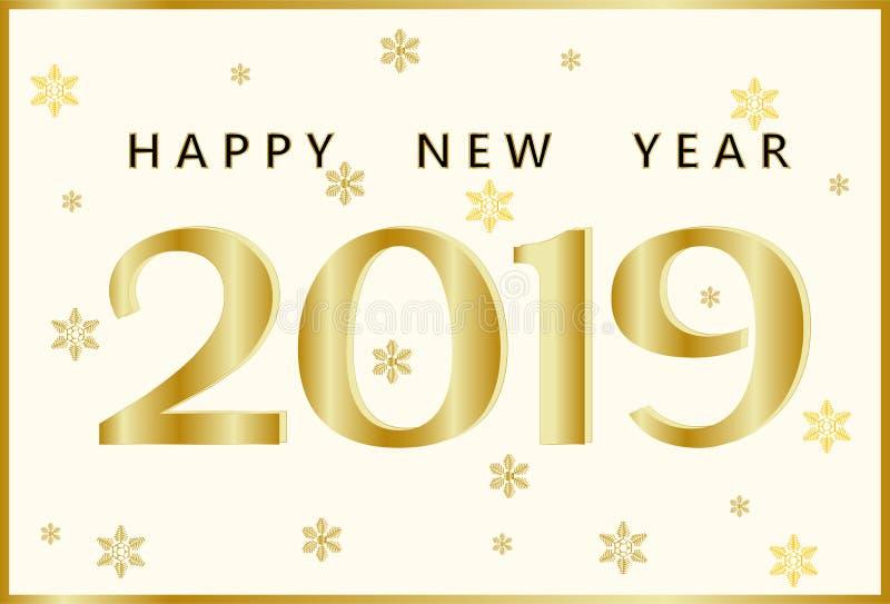 Tarjeta de felicitación con una Feliz Año Nuevo 2019 de la inscripción de oro y los copos de nieve de oro de diversos formas y ta ilustración del vector