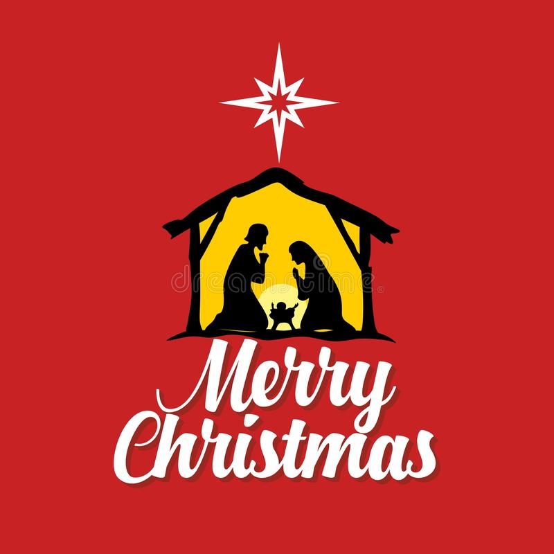 Tarjeta de felicitación con una historia de la Navidad Maria y José con el bebé Jesús en Belén ilustración del vector