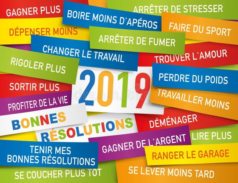 Tarjeta de felicitación 2019 con una lista de buenas resoluciones escritas en etiquetas del color stock de ilustración