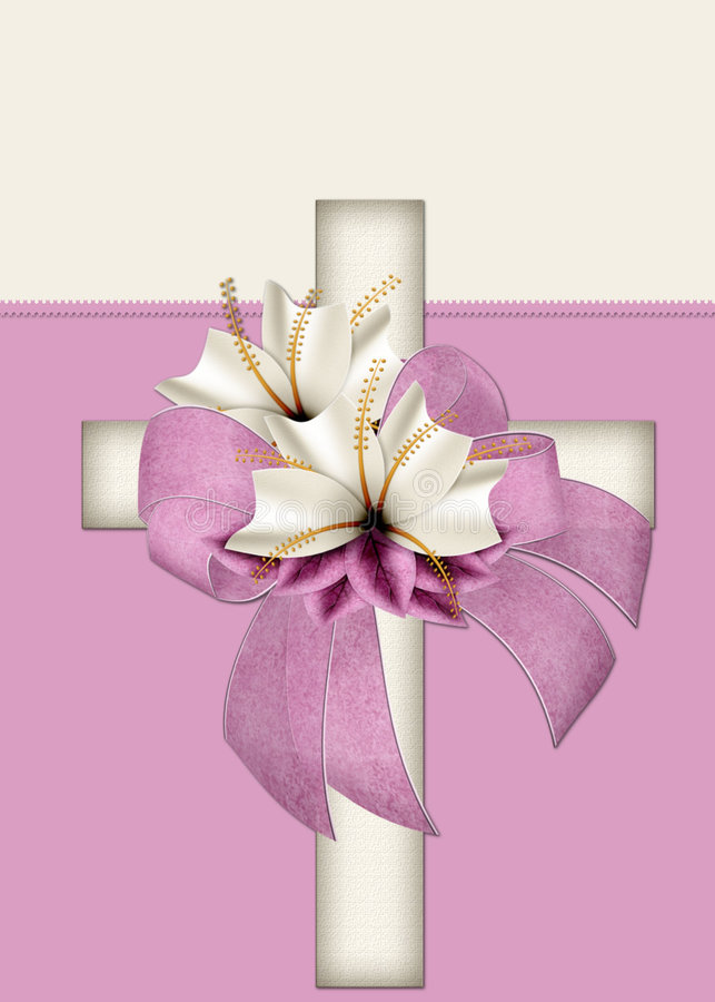 Tarjeta de felicitación cruzada cristiana hermosa ilustración del vector