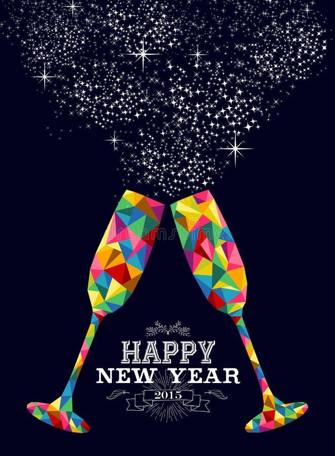 Tarjeta de felicitación de cristal del color del Año Nuevo 2015 stock de ilustración