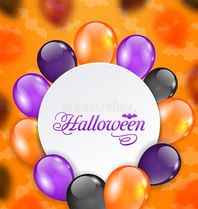 Tarjeta de felicitación de Halloween con los globos coloreados libre illustration