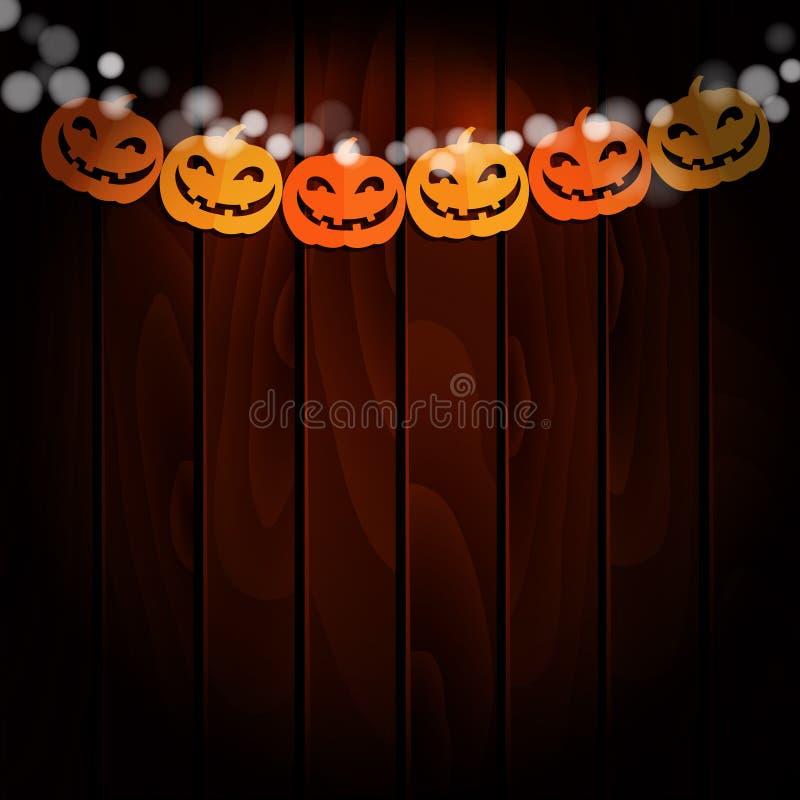 Tarjeta de felicitación de Halloween, invitación Vaya de fiesta la decoración, cadena de calabazas de papel, banderas hechas a ma stock de ilustración