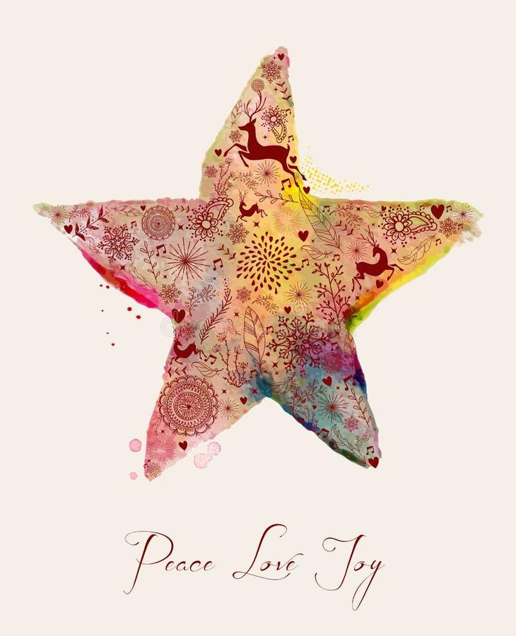 Tarjeta de felicitación de la acuarela de la estrella de la Navidad libre illustration