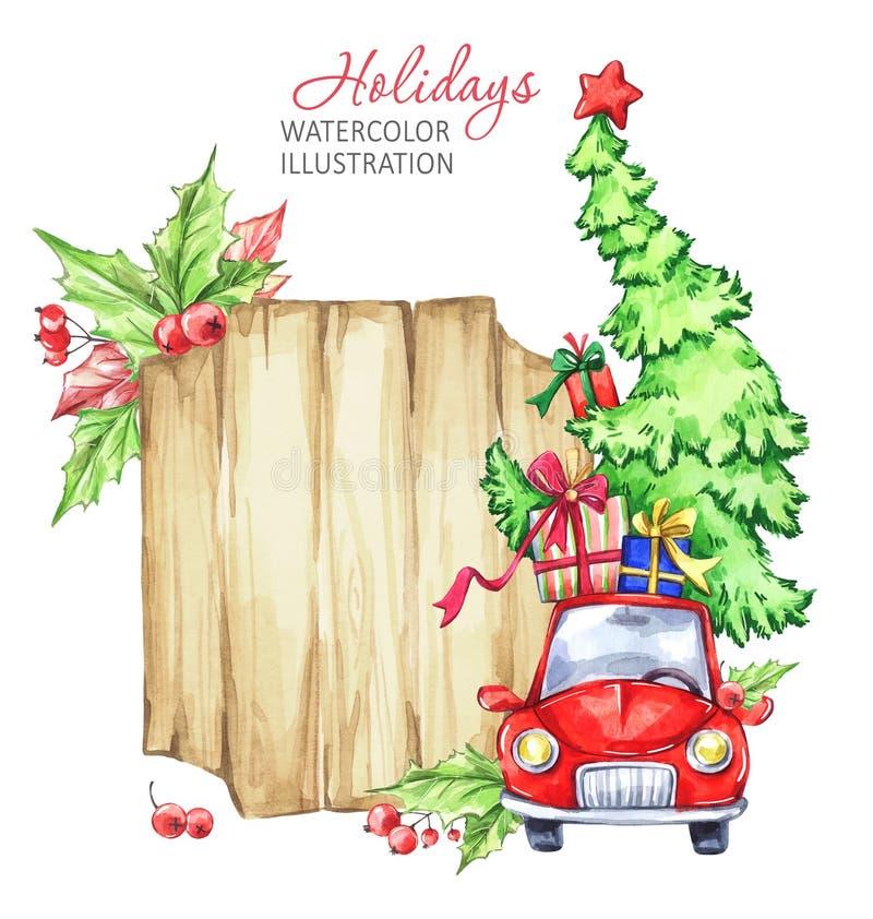 Tarjeta de felicitación de la acuarela del invierno, marco de madera con el coche retro, árbol de navidad ilustración del vector