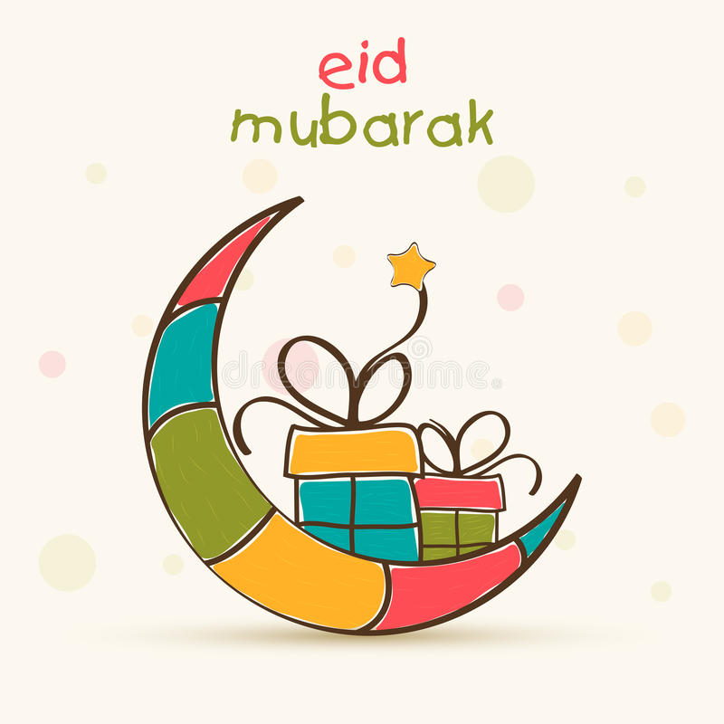 Tarjeta de felicitación de la celebración de Eid Mubarak con la luna y el regalo stock de ilustración