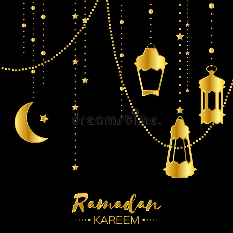 Tarjeta de felicitación de la celebración de Ramadan Kareem del oro stock de ilustración