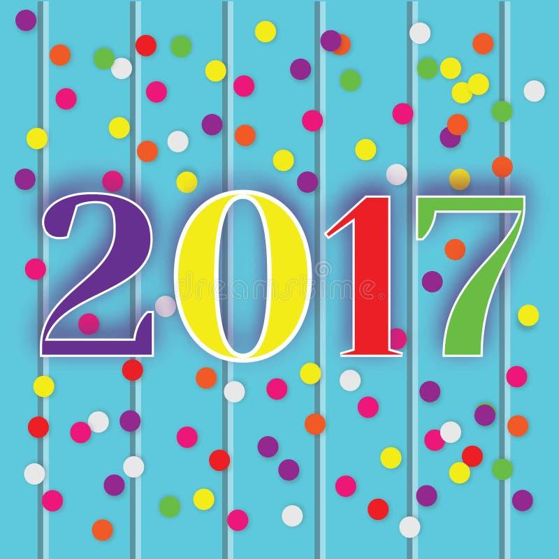 Tarjeta de felicitación de la celebración del Año Nuevo 2017, bandera, ejemplo stock de ilustración