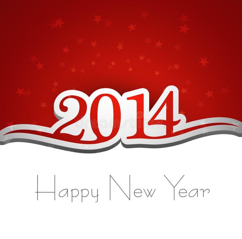 Tarjeta de felicitación de la Feliz Año Nuevo 2014 ilustración del vector