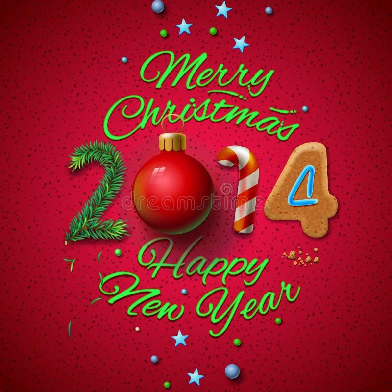 Tarjeta 2014 de felicitación de la Feliz Año Nuevo libre illustration