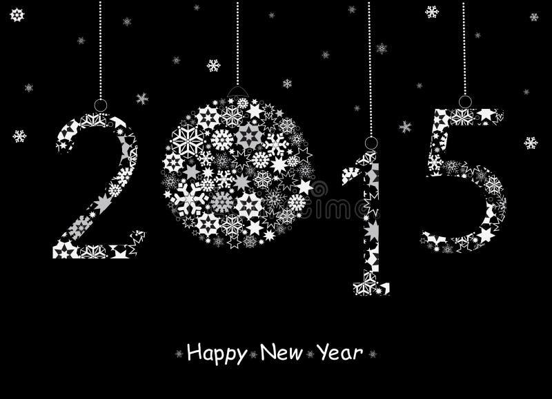 Tarjeta de felicitación de la Feliz Año Nuevo 2015 stock de ilustración