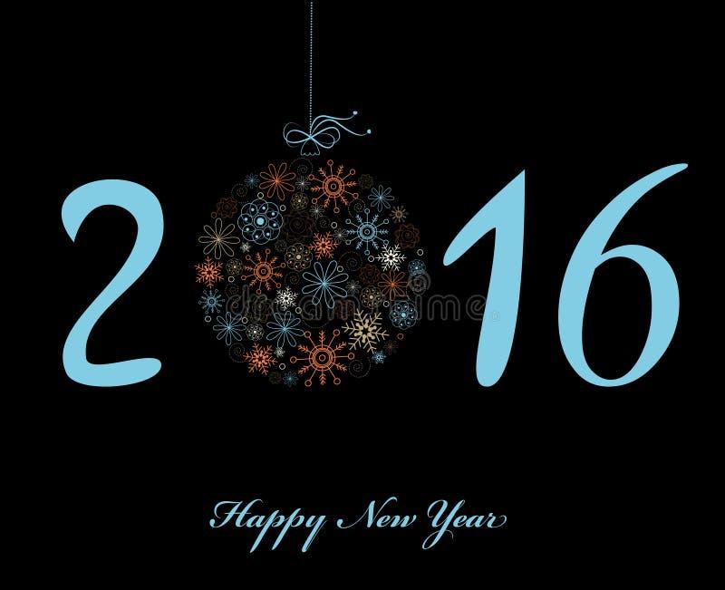 Tarjeta de felicitación de la Feliz Año Nuevo 2016 ilustración del vector
