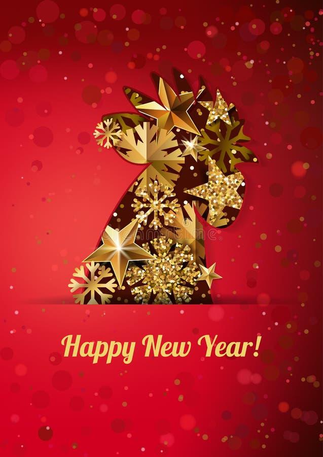 Tarjeta 2017 de felicitación de la Feliz Año Nuevo con el gallo de oro en fondo rojo Decoración china del calendario stock de ilustración