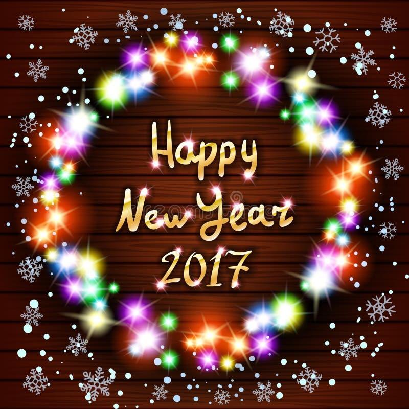 Tarjeta de felicitación de la Feliz Año Nuevo con enhorabuena de recuerdos Vector el bolso y el sombrero, manoplas, media de la N ilustración del vector