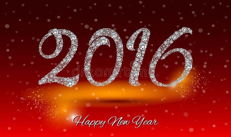 Tarjeta 2016 de felicitación de la Feliz Año Nuevo Fondo del diamante stock de ilustración