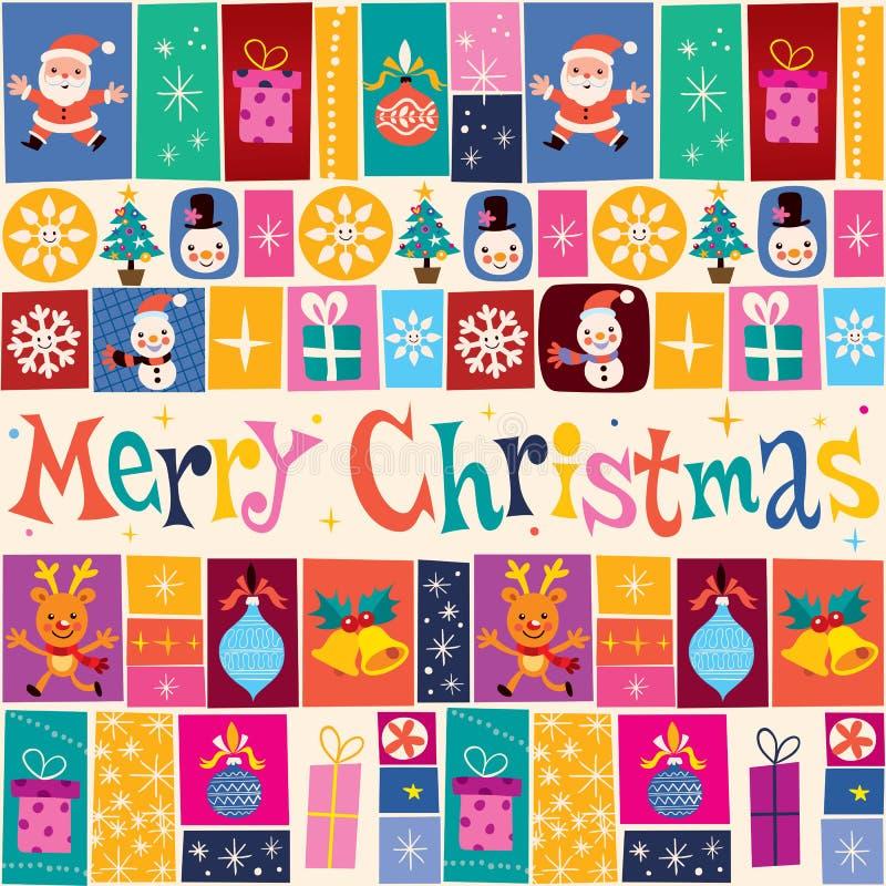 Tarjeta de felicitación de la Feliz Navidad stock de ilustración