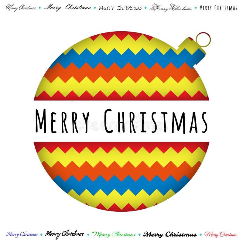 Tarjeta de felicitación de la Feliz Navidad, bola cortada, fondo del zigzag del color Vector stock de ilustración
