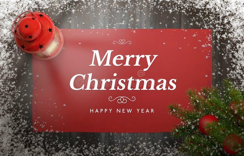 Tarjeta de felicitación de la Feliz Navidad con el árbol de navidad, la linterna, el mantel y los copos de nieve imagenes de archivo