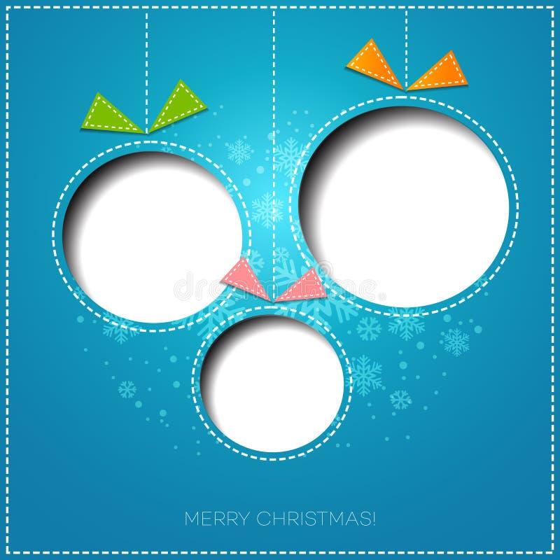 Tarjeta de felicitación de la Feliz Navidad con la chuchería Papel ilustración del vector
