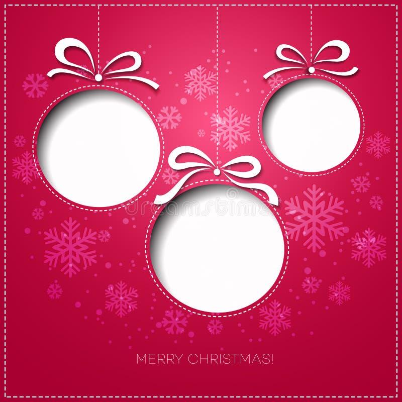 Tarjeta de felicitación de la Feliz Navidad con la chuchería Papel libre illustration