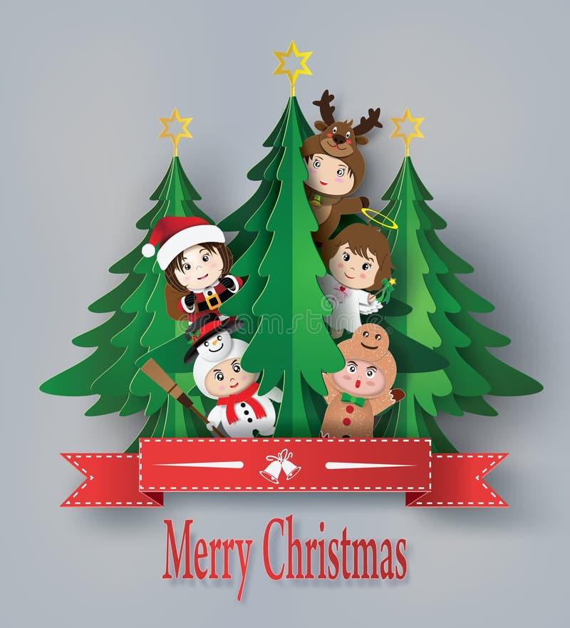 Tarjeta de felicitación de la Feliz Navidad con los niños libre illustration