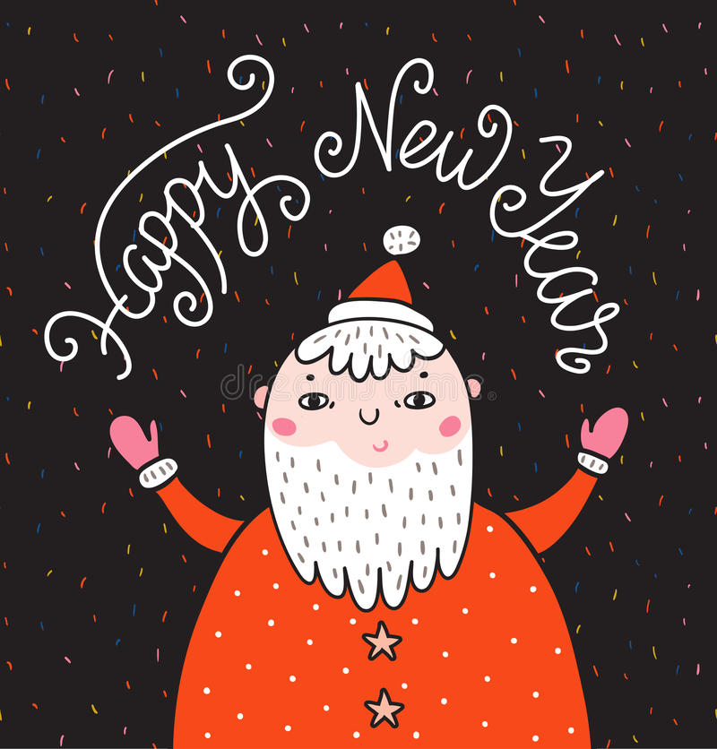 Tarjeta de felicitación de la Feliz Navidad en fondo oscuro con Santa Claus y las letras elegantes - Feliz Año Nuevo ilustración del vector