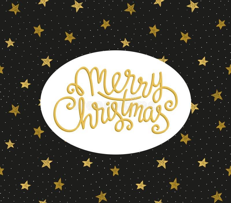 Tarjeta de felicitación de la Feliz Navidad Plantilla del cartel del día de fiesta del vector de la estación stock de ilustración