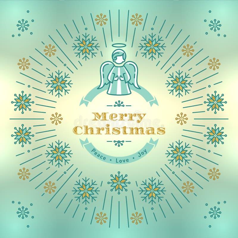 Tarjeta de felicitación de la Feliz Navidad, vector del ángel, fondo elegante del vintage de Navidad ilustración del vector